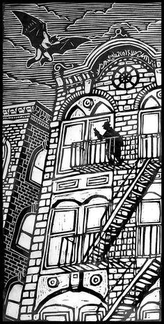 Batman Woodblock Print by WoodcutEmporium on Etsy