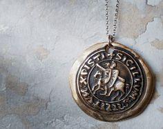 Templar  Bronze Wax Seal Necklace Hand Made by RenataandJonathan, $75.00