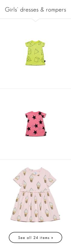 """""""Girls' dresses & rompers"""" by myangeldreams ❤ liked on Polyvore featuring dresses, baby girl, print dress, cotton dresses, t-shirt dresses, button shirt dress, pink dress, little outfits, light blue and baby"""