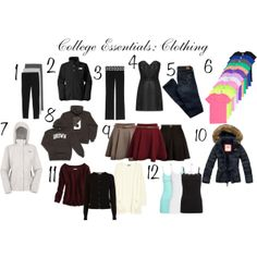 """{7} College Essentials: Clothing"" by pinkelephantsxo on Polyvore"