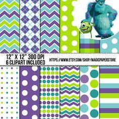 Monsters Inc Digital Paper Papers Scrapbook MagicPaperStore 3.00 USD
