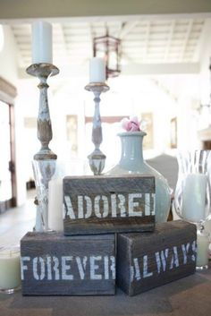A table display, try it with pictures of the bride and groom Chic Wedding, Perfect Wedding, Rustic Wedding, Our Wedding, Dream Wedding, Wedding Bride, Wedding Dress, Wedding Wishes, Wedding Bells