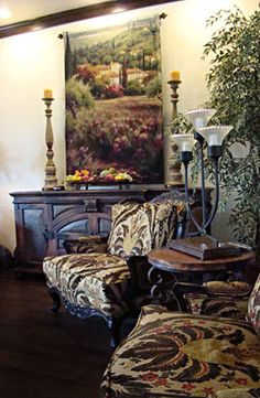 Tuscan furniture can be elegant or simple in design. It can be fashioned from fine hardwoods or comm Tuscan Kitchen Design, Tuscan Design, Tuscan Style, Furniture Styles, Furniture Design, Furniture Removal, Tuscan Living Rooms, Tuscan Bedroom, Tuscan Furniture