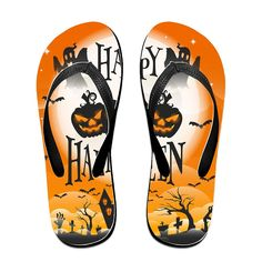 SkipyMan Happy Halloween Womens Flip-flops Beach Slippers *** Click image for more details.