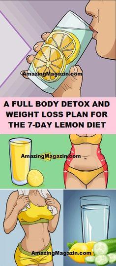 A Full Body Detox and Weight Loss Plan for the 7 Day Lemon Diet - Slankekur - Full Body Cleanse Detox, Body Detox Drinks, Diet Detox, Detox Plan, Men Health Tips, Lemon Diet, Detox Tips, Detox Recipes, Weight Loss Detox