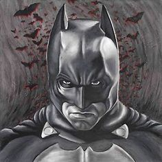 Image is loading Batman-Dark-Knight-Artwork-Oil-Painting-Stretched-Canvas-