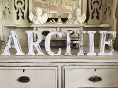 LARGE SHABBY CHIC VINTAGE WHITE WOODEN  ARCHIE   Letters BABY GIFT CHRISTENING