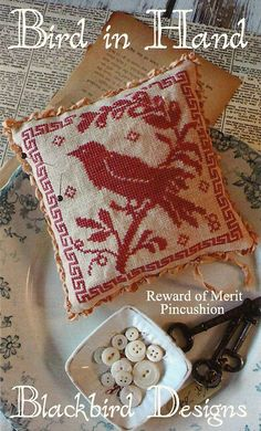 Primitive Folk Art Pinkeep Cross Stitch Pattern by PrimFolkArtShop,