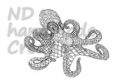 Paisley Doodle octopus N3 sea marine Pattern Printable Coloring Book Sheet Adults children PDF JPG Instant Download Illustration Art Digital by NDhandMadeCreations on Etsy