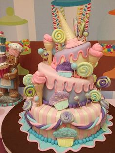Fun cake at a Candyland birthday party! See more party planning ideas at CatchMyParty.com!