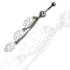 3 Brass Knuckle Dangle Belly Ring
