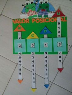 Place Value Sliders - Math Learning Aid Math For Kids, Fun Math, Math Games, Kids Learning Activities, Educational Activities, Teaching Aids, Teaching Math, School Board Decoration, Math Boards