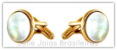 Abotoaduras em ouro 750/18k e madrepérola (750/18k gold cuff links and mother-of-pearl)