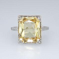 Bright Art Deco 3.73ct Natural Yellow Sapphire & Diamond Filigree Ring 18k   Antique & Estate Jewelry   Jewelry Finds