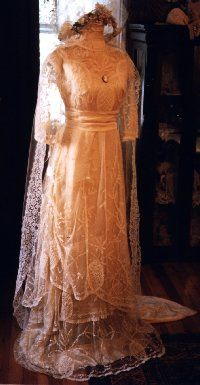 1904 Brussels lace wedding gown