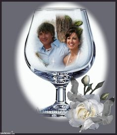 Bridal couple in a glass. Creative. Wedding photo montage. You can click on this to go to imikimi and make your own for free. Happy Birthday Wishes Photos, Happy Wedding Anniversary Wishes, Happy Birthday Cake Images, Wedding Anniversary Photos, Photo Frames For Kids, Baby Picture Frames, Picture Frame Decor, Picture Borders, Picture Layouts