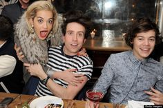 Rita Ora, Nick Grimshaw and Harry Styles at awards dinner