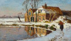 Ben Viegers – Huisje te Loosduinen in de winter Dutch Painters, Landscape Paintings, Oil Paintings, Landscapes, Dutch Artists, Winter Art, 15th Century, The Hague, Art Day