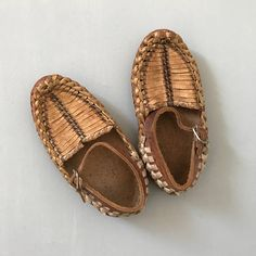 VINTAGE LEATHER SHOES / Brown leather shoes / Leather sandals