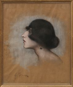 ANNA ANKARCRONA. Porträtt av en dam, 1920-tal, pastell, signerad A Ankarcrona.