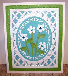 Ann Greenspan's Crafts: Blue and Green Sue Wilson Stitched Lattice Cards