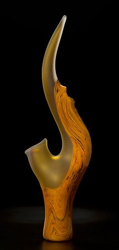 Grand Serenoa in yellow gold hand blown glass sculpture by Bernard Katz Glass