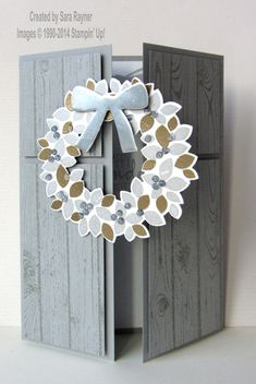 Metallic wondrous wreath card, using supplies from Stampin' Up! www.craftingandstamping.com #stampinup