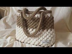 DIY Tutorial - Crochet Easy Casual Friday Handbag with Lining - Lined Purse Bag Bolsa BorsaBorsa Itaca a Punto Sery - Crochet bagBolsa Clutch De Crochê Com Fio de Malha - Tutorial de Crochê - Modelo Clutch - T Shirt Yarn BagBasket or bag to step Cr Crochet Shell Stitch, Bobble Stitch, Crochet Tote, Crochet Handbags, Crochet Purses, Bead Crochet, Diy Crochet, Crochet Bag Tutorials, Crochet Videos