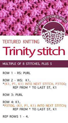Knitting instructions for Trinity Stitch knitting stitch pattern. Knitting instructions for Trinity Stitch knitting stitch pattern. Baby Knitting Patterns, Knitting Stiches, Knitting Blogs, Easy Knitting, Stitch Patterns, Knit Stitches, Loom Patterns, Knitting Terms, Bamboo Knitting Needles