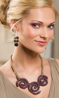 Vortex Necklace by Lisa M. Barnes, knit in Captiva Metallic, Creative Knitting Autumn 2014