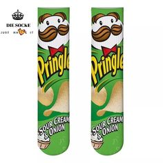 1 pair Funny Unisex Art Socks women printing Potato chips Knee High So – MN Fashion
