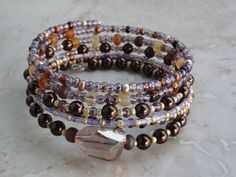 BRACELET - Chocolate Pearl Amber Violet Bead Coil  Wrap Jewelry Bracelet - Free Shipping. $24.00, via Etsy.