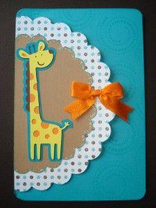 giraffe card - new baby or little kid birthday using Create a Critter cartridge