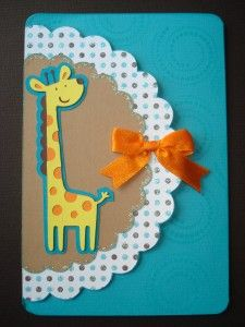 giraffe card - new baby or little kid birthday using Create a Critter cartridge