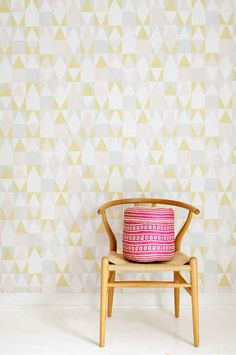 "Majvillan Wallpaper Company brings us this nordic geometric children's wallpaper ""Alice"" in soft pink, yellow, grey & creamy white. Non-Woven Wallpaper (paste the wall) Washable & Eco-Friendly Roll Size: x Repeat: Straight Match Nursery Wallpaper, Kids Wallpaper, Alice, Wallpaper Marvel, Wallpaper Companies, Pastel Palette, Waste Paper, Wallpaper Paste, Yellow Pattern"