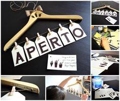 Decorazioni da appendere - INSEGNA APERTO-CHIUSO - un prodotto unico di Il_Tappo_di_Sughero su DaWanda