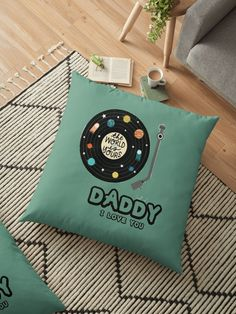 """""""Cassette Tape Father's Day -  Music Lover's Fathers Day"""" Floor Pillow by hiwaga   Redbubble Floor Pillows, Throw Pillows, Cassette Tape, Music Lovers, Fathers Day, Flowers, Travel, Toss Pillows, Viajes"""