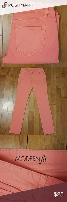 """Ann Taylor Modern Fit Coral Pink Straight Leg Jean Ann Taylor Modern Fit Coral Pink Straight Leg Jeans. Size 4. Beautiful peachy pink coral color for spring and summer. Would look cute cuffed or uncuffed! 98% cotton, 2% spandex.  14.25"""" across the waist. 32.5"""" inseam. Ann Taylor Jeans Straight Leg"""