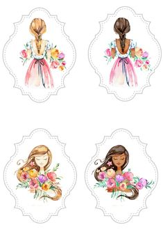 Decoupage Vintage, Printable Stickers, Cute Stickers, Cartoon Girl Images, Flower Video, Hand Embroidery Flowers, Baby Scrapbook, Watercolor Cards, Cute Illustration