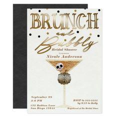 Brunch & Bubbly Wine Gold Halloween Bridal Shower Card - bridal shower gifts ideas wedding bride