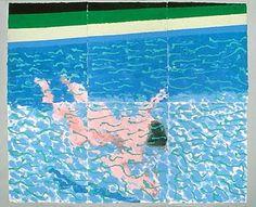 "urgetocreate: "" David Hockney, Swimmer Underwater, colored and pressed paper pulp "" David Hockney Pool, David Hockney Artist, David Hockney Paintings, Robert Rauschenberg, Jasper Johns, Andy Warhol, Edward Hopper, Pop Art Movement, Queer Art"