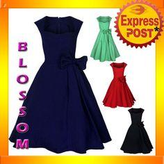 RK52 Rockabilly Vintage Swing Work Evening Dress 40s 50s Retro Emo Pin Up Plus