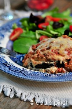 Eggplant Lasagna Recipe - So delicious and uses eggplant instead of meat! Love eggplant any day! So cheesy and flavorful! Add a Pinch