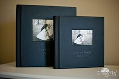 Matching 10x10 and 8x8 with Cover Inset photos mounted Flush-No Liner.