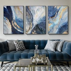 Gold art 3 pieces Wall Art ocean Navy blue painting Abstract acrylic paintings on canvas set of 3 framed wall art pictures Blue Living Room Decor, Living Room Art, Living Room Designs, Paintings For Living Room, Blue And Gold Living Room, Frames On Wall, Framed Wall Art, Blue Framed Art, Resin Wall Art
