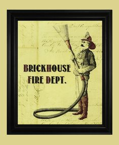Fireman Art Print, Vintage Fire Department Poster, Old Fashioned Firehouse Signage, Brickhouse Fire Department Illustration on Etsy, $12.00