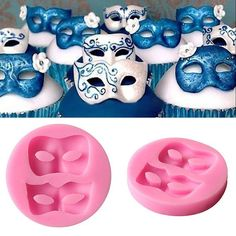 Masks Flexible Silicone 2-Cavity Mold for by MiniTreasureMolds