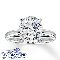 14K White Gold 3 Carat Leo Diamond Solitaire