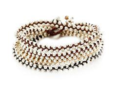 Global Goods Partners Silver Beaded Double Wrap Bracelet
