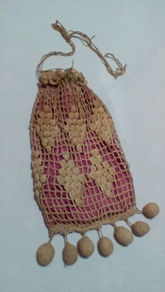 vtg/ antique drawstring crochet purse, grapes pattern, magenta pink silk lined #unknownhandmade